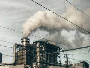 Factory release of CO2 which can be combated using Carbon Sequestration methods.