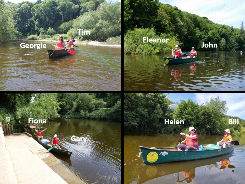 Merlin team in canoes on River Wye